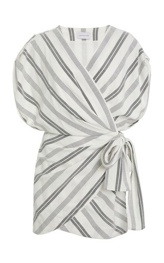 Arcadia Striped Wrap-Effect Woven Mini Dress