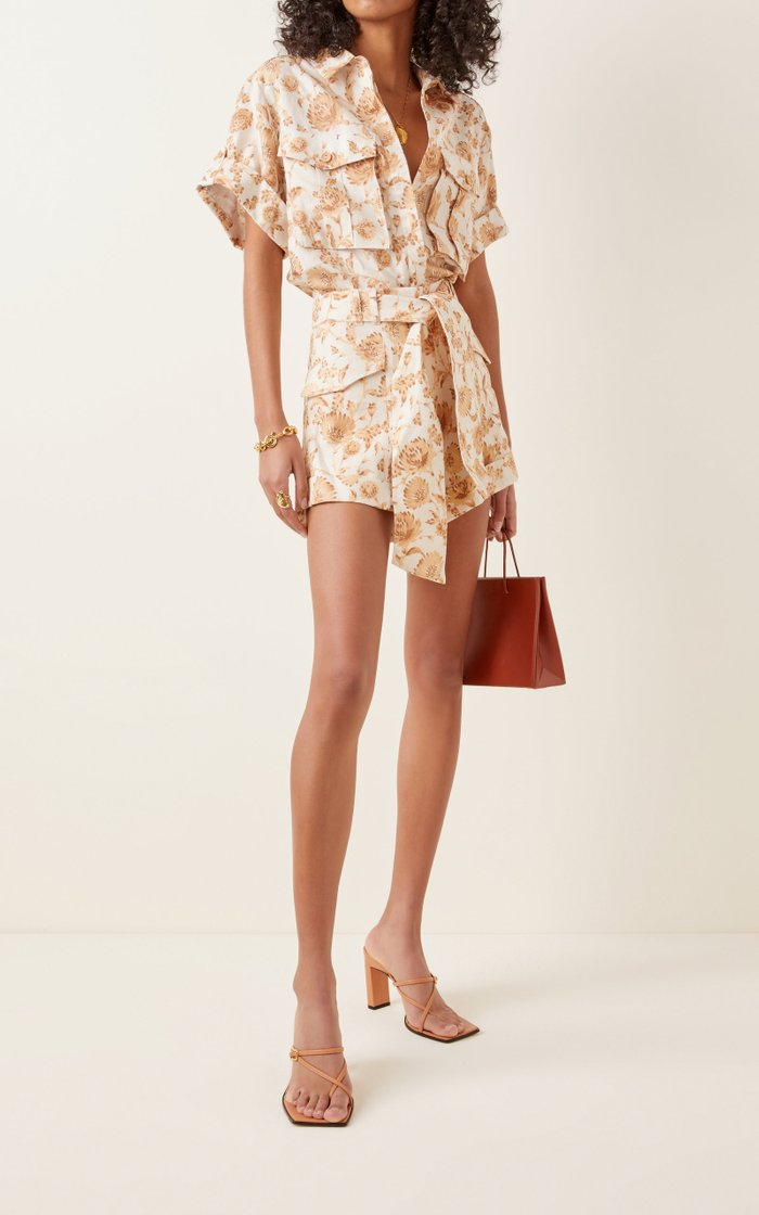 Aphrodite Floral-Print Linen-Blend Top