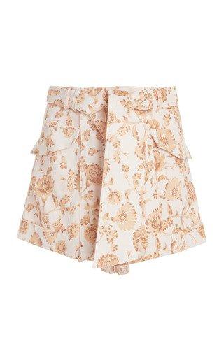 Aphrodite Floral-Print Linen-Blend Shorts