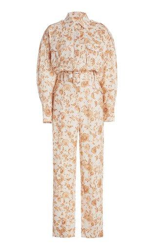 Aphrodite Floral-Print Linen-Blend Jumpsuit
