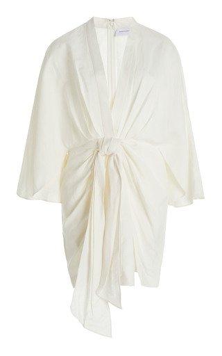 Magnolia Bow-Embellished Linen-Blend Dress