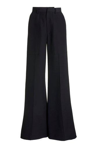 High-Rise Wool-Blend Flared Pants