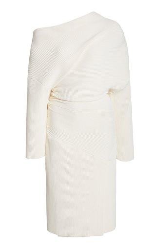 Ribbed Knit Gathered Midi Dress