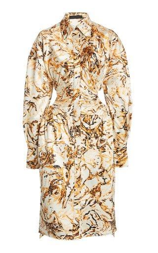 Printed Satin Cut-Out Shirt Dress