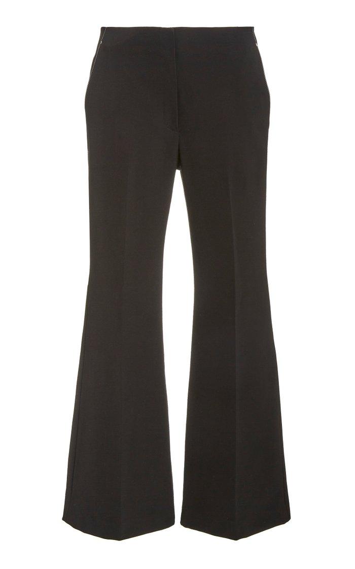 Cropped Stretch Wool Flare-Leg Pants