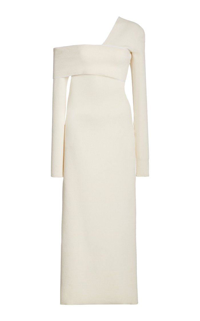 Bandage One-Shoulder Silk-Blend Maxi Dress