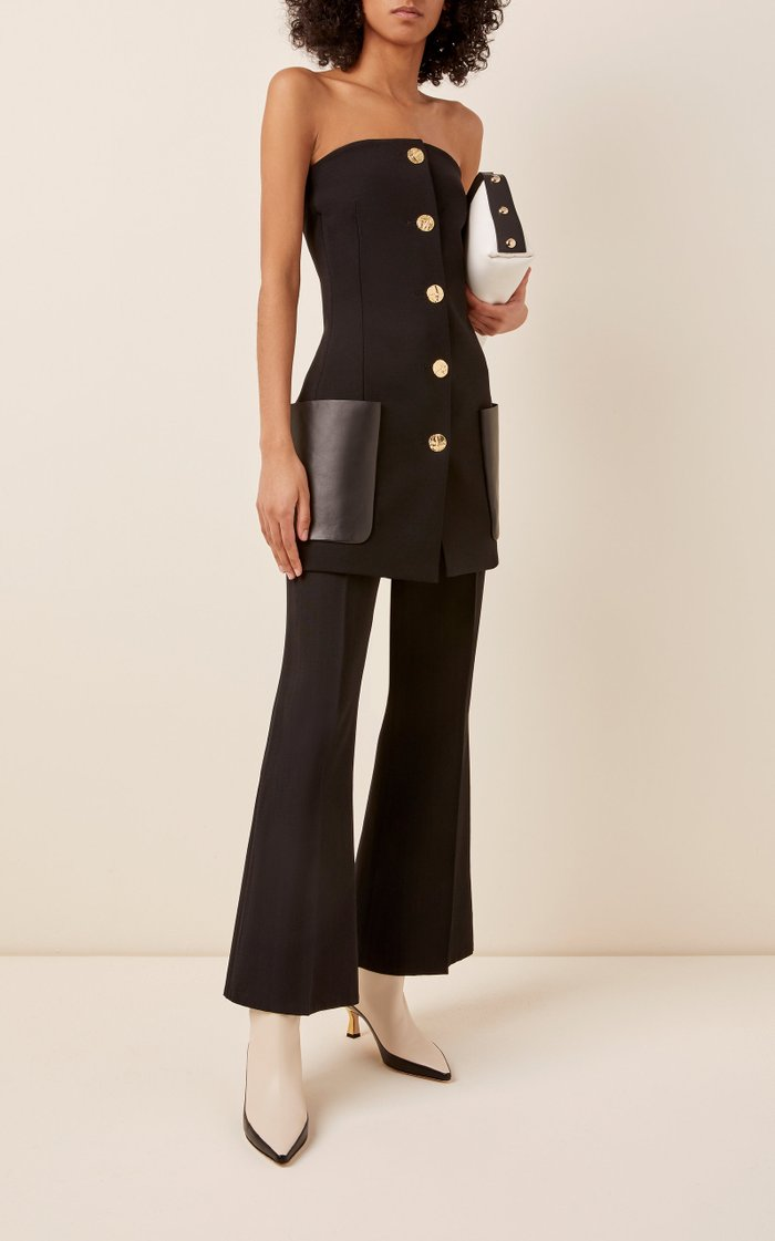 Leather Pocket-Detailed Strapless Wool-Blend Top