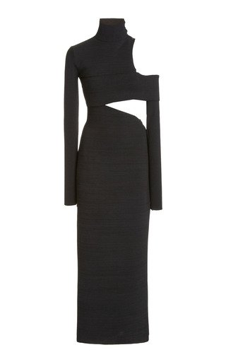 High-Neck Silk Crepe Cut-Out Maxi Dress