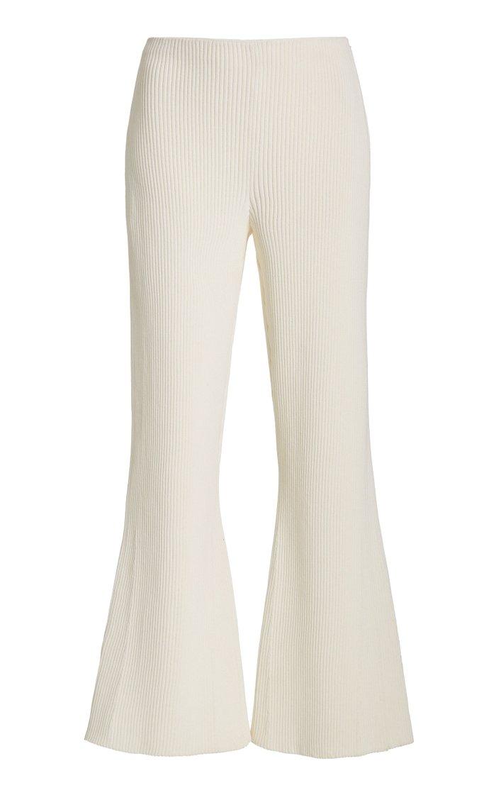 Ribbed Knit Crop Flare Pants