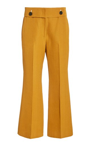 Viscose-Silk Crop Flare Pants