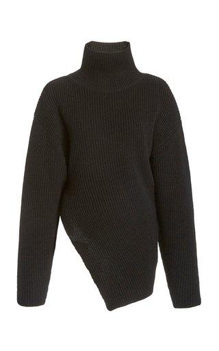 Asymmetric Wool Turtleneck Sweater