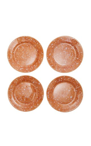 Set-of-Four Terracotta Ceramic Dinner Plates