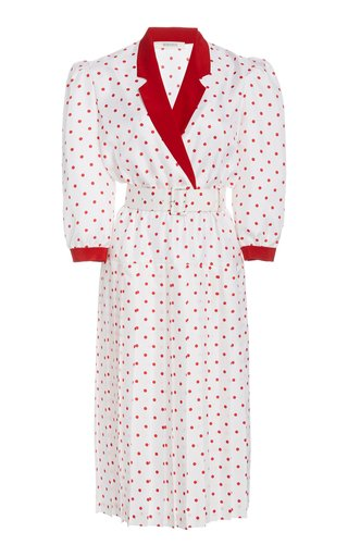 Belted Polka-Dot Silk Midi Dress