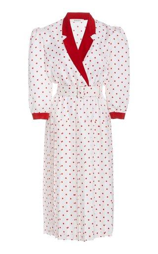 Belted Polka-Dot Silk Midi Dress