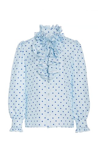Ruffle-Trimmed Polka-Dot Silk Blouse