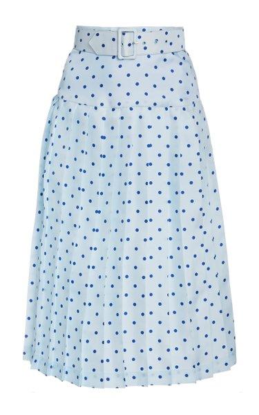 Belted Pleated Polka-Dot Silk Midi Skirt