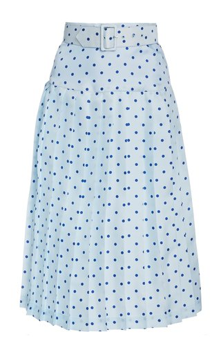 Belted Pleated Polka-Dot Silk Midi Skirt