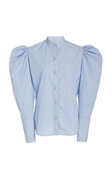 Poplin Puff-Sleeve Top