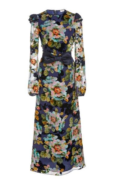 Bow-Embellished Floral-Print Silk-Blend Midi Dress