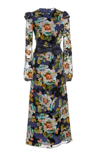 Bow-Embellished Floral-Print Silk-Blend Midi Dress