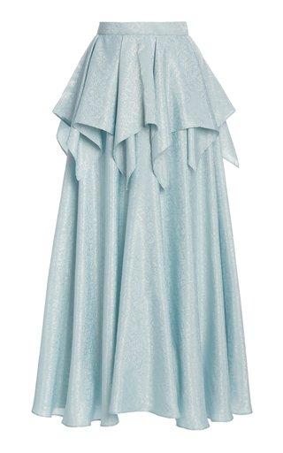 Peplum-Waist Floral Jacquard Maxi Skirt