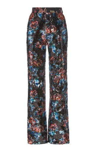 Sequined Straight-Leg Trousers