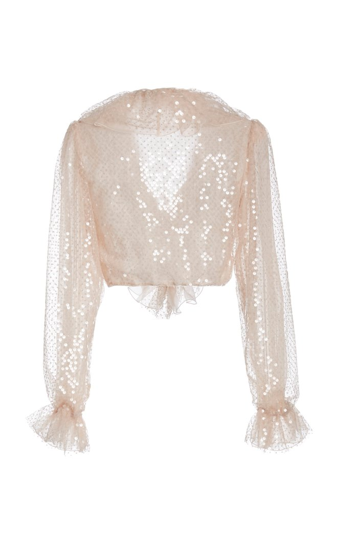 Ruffled Sequined Organza Blouse