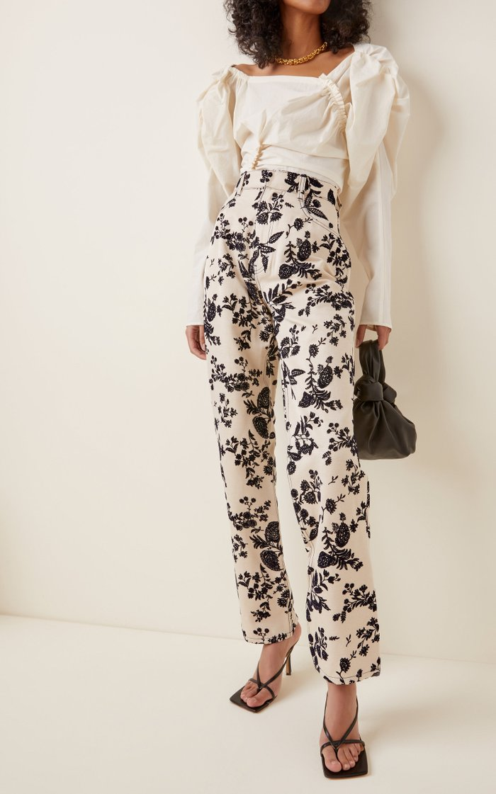 Embroidered Cotton-Twill Straight-Leg Pants