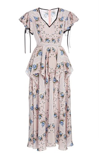 Ruffled Floral-Print Silk Maxi Dress