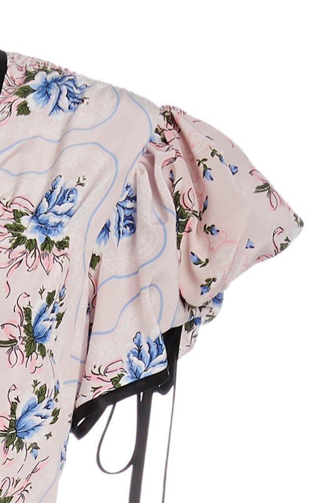 Ruffled Floral-Print Silk Maxi Dress