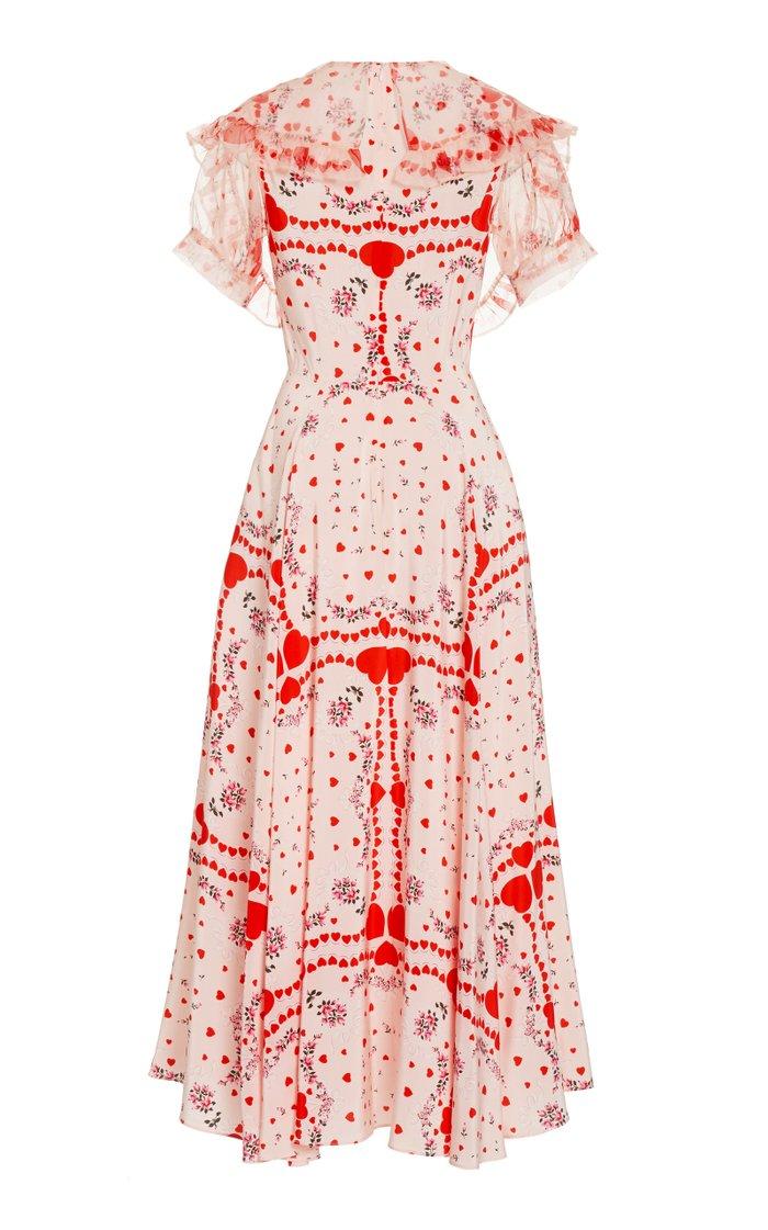 Appliquéd Ruffled Printed Silk-Chiffon Maxi Dress