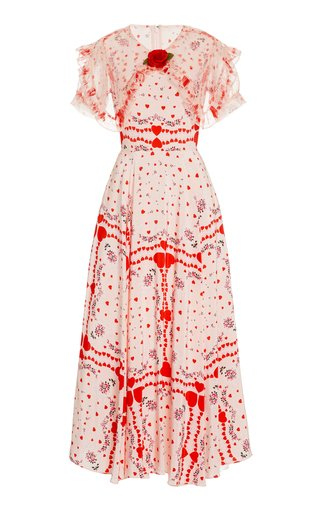 Appliquéd Ruffled Printed Silk-Chiffon Maxi Dress