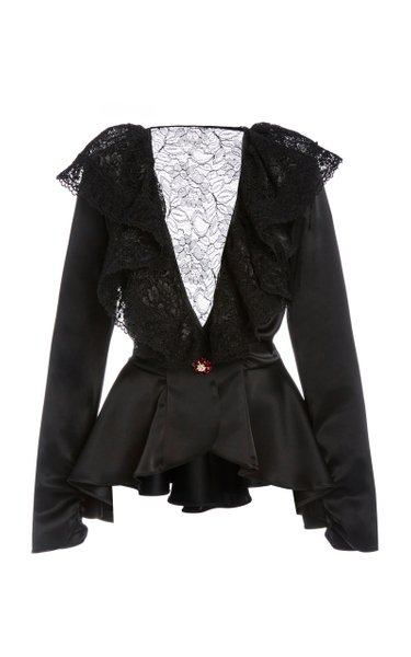 Lace-Paneled Ruffled Satin Peplum Top