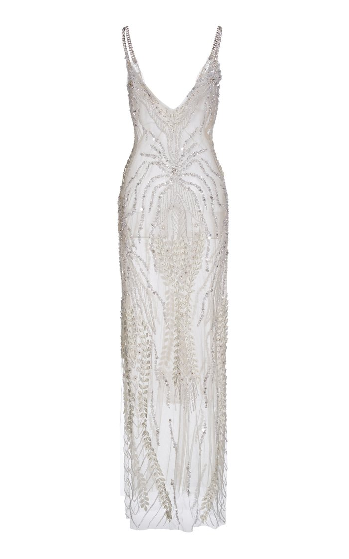 Bead-Embellished Embroidered Chiffon Gown