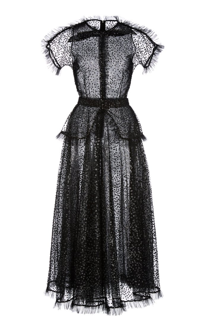 Ruffle-Trimmed Glittered Tulle Maxi Dress
