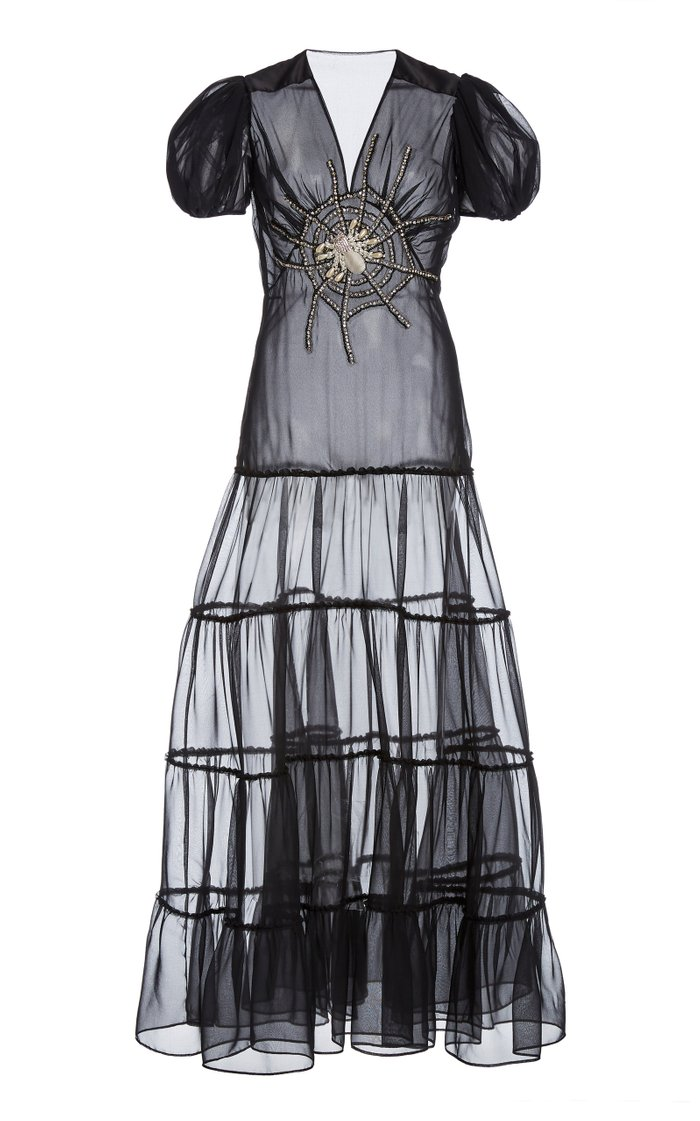 Web-Embellished Silk Chiffon Tiered Maxi Dress