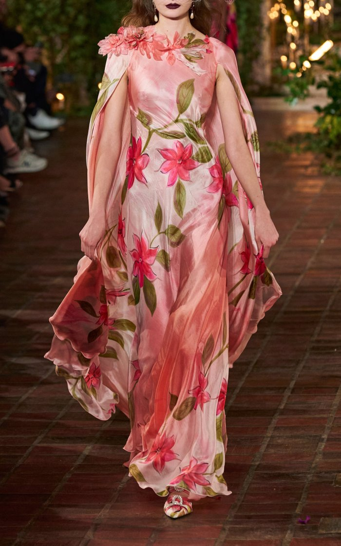 Appliquéd Cape-Effect Hand-Painted Silk Gown