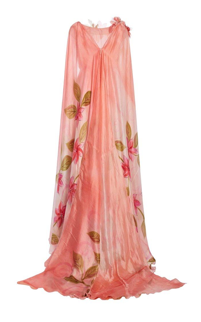Appliquéd Cape-Effect Hand-Painted Silk Gown