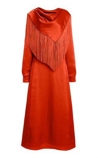 Rouge Fringed Silk Midi Scarf Dress