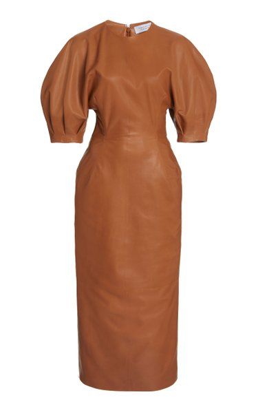 Coretta Puff-Sleeve Leather Midi Dress