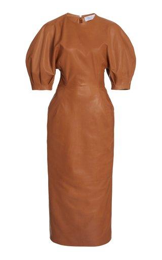 Coretta Puff-Sleeve Leather Midi Dress
