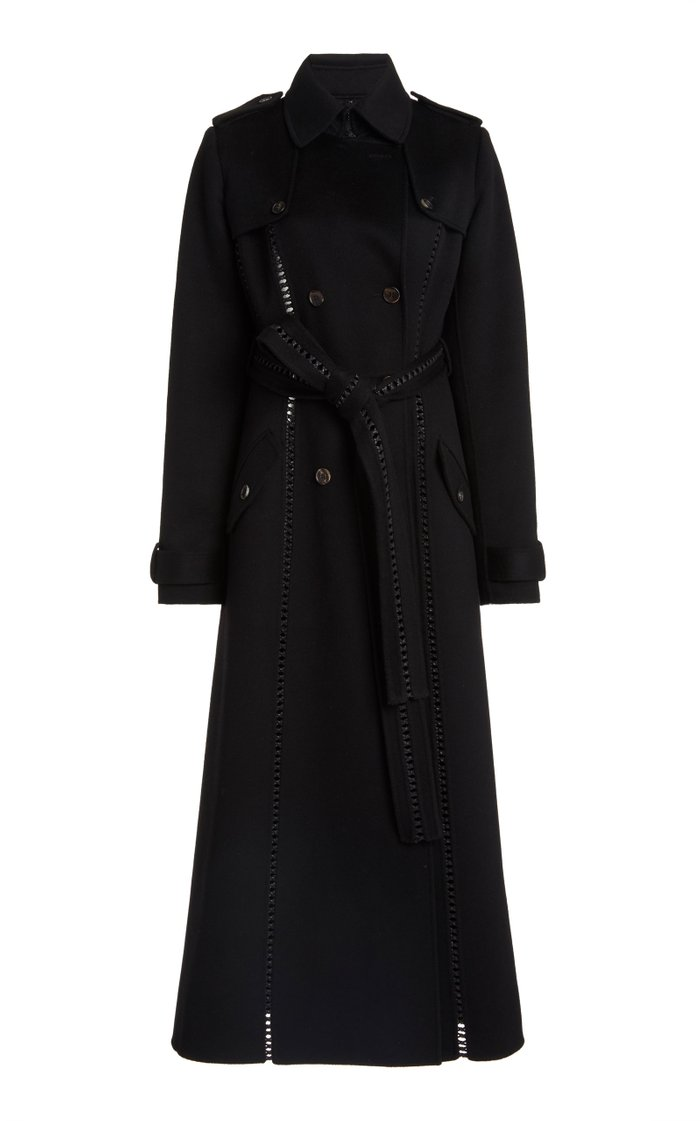 Franz Leather-Trimmed Brushed Double-Faced Cashmere Trench
