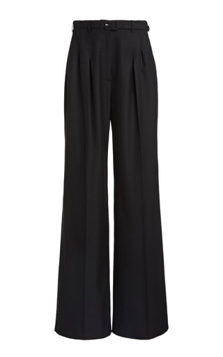 Vargas Belted Cashmere Pleated Wide-Leg Trousers