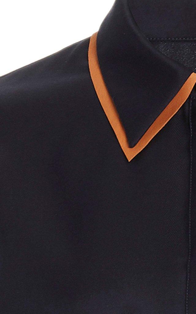 Maslin Collar-Detailed Silk Top