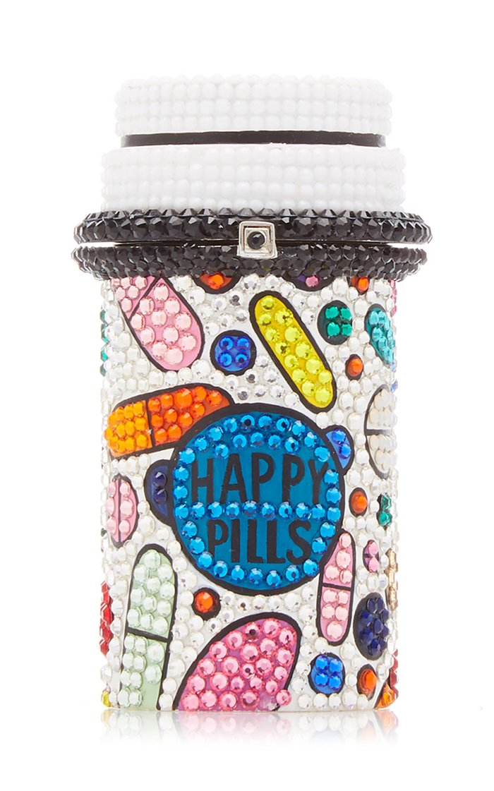 Pill Popper Silver-Tone And Crystal Pillbox