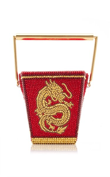 Golden Dragon Crystal-Embellished Top Handle Bag