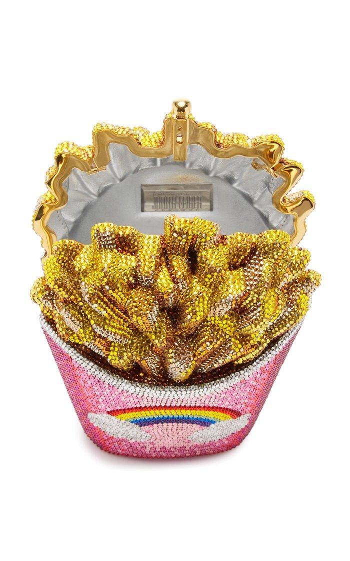 Rainbow Fries Crystal-Embellished Clutch