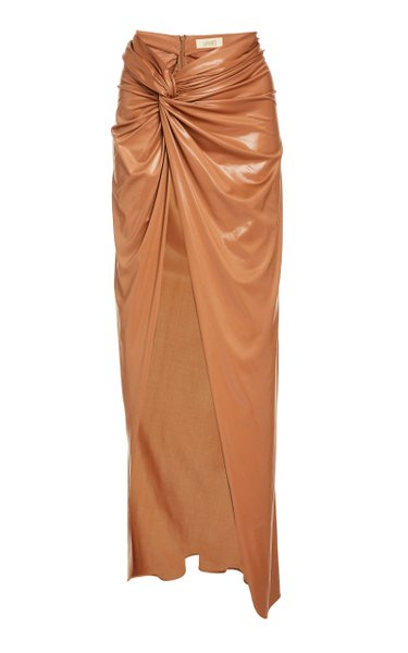 Draped Coated Jersey Front-Slit Sarong