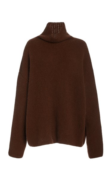 Airy Cashmere Silk Ribbed Turtleneck