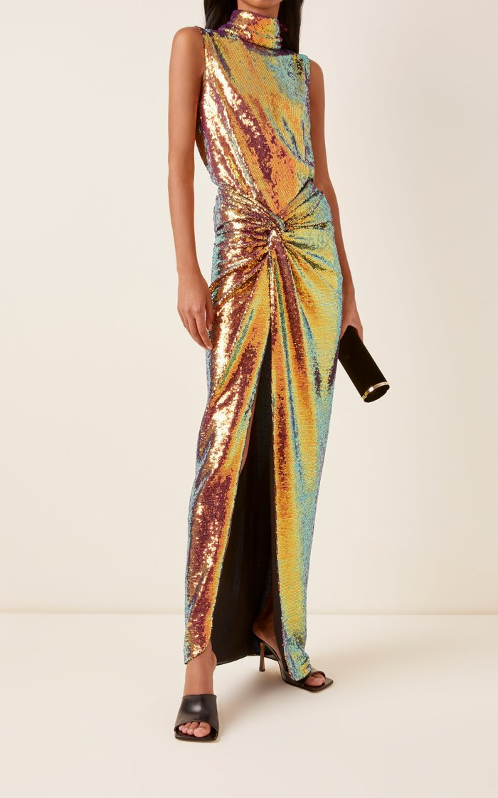 Sequined Jersey Twisted Sarong